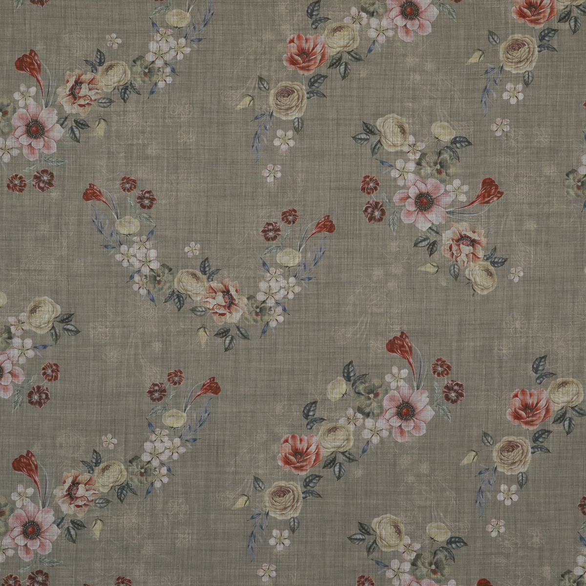 Тонкая шерстяная ткань натурального оттенка с цветами