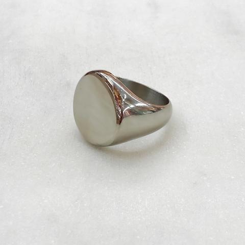 Кольцо-печатка без декора (серебристый) (сталь)