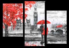 """Модульная картина """"Красно-серый Лондон"""""""