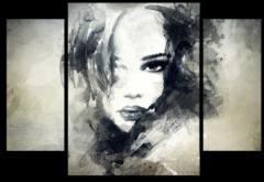 """Модульная картина """"Абстрактный портрет девушки"""""""