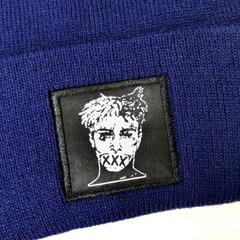 Вязаная шапка с вышивкой XXXTentacion (Онфрой) синяя фото 2