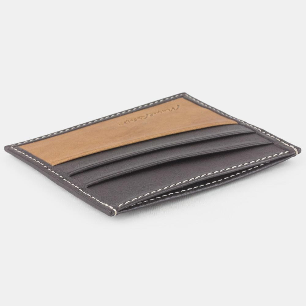 Картхолдер-визитница Carte Bicolor из натуральной кожи теленка, темно-коричневого цвета