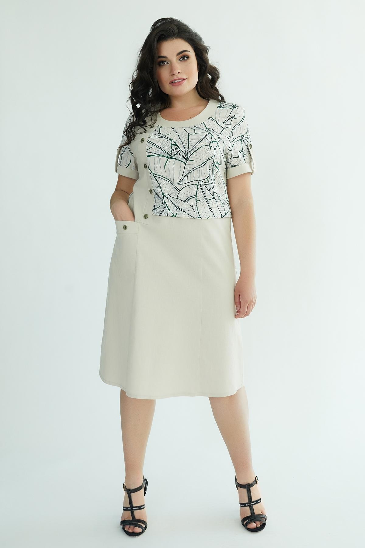 Сукня Кармеліта (Кармелита) (бежевий-зел.квіти)