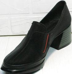 Женские закрытые туфли на толстом каблуке 6 см демисезонные H&G BEM 167 10B-Black.