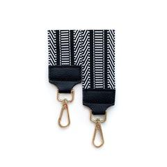 Черно-белый тканевый ремень к сумке