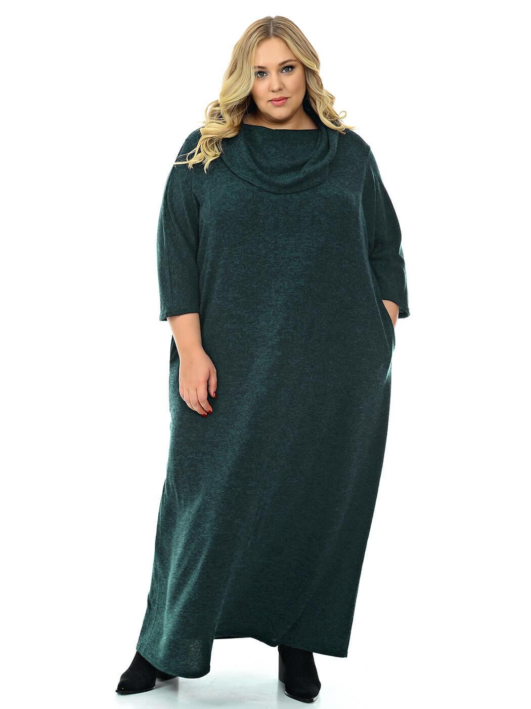 Длинное платье джерси меланж с воротником