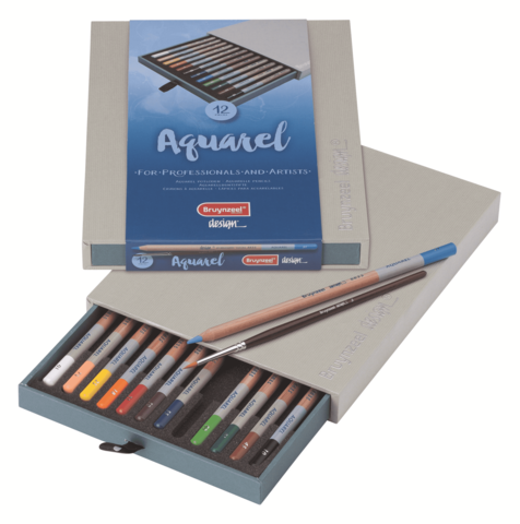 Набор акварельных карандашей Design 12 цветов c кисточкой в подарочной упаковке