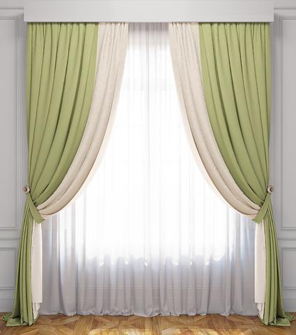 Комплект штор и тюль Ламанш сливочно-зеленый