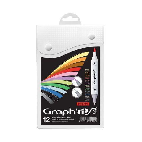 Набор маркеров GRAPH'IT Brush 12шт Основные цвета