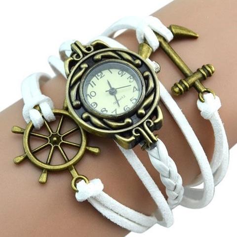 Купить Часы-браслет с якорем и штурвалом (белые) в Магазине тельняшек