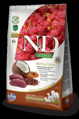 Сухой беззерновой корм Farmina N&D GF Quinoa Skin&Coat Venison Adult Dog All Breeds