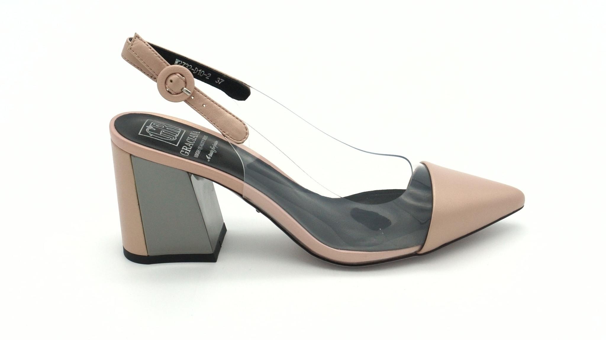 Классические кожаные босоножки розового цвета на устойчивом каблуке