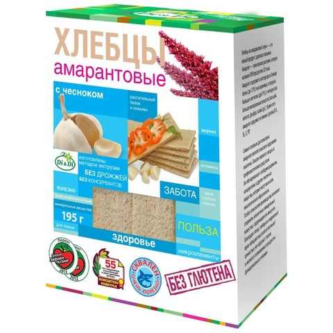 Хлебцы амарантовые с чесноком без глютена Di&Di, 195г