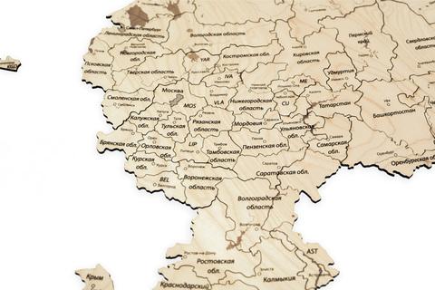 Пазл-карта России ДекорКоми из дерева - 150x80 см / С магнитами