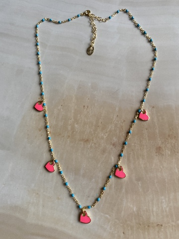 Колье Лавуа, розовая и голубая эмаль