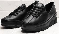 Осенние женские туфли кроссовки на танкетке 5 см Mario Muzi 1350-20 Black.