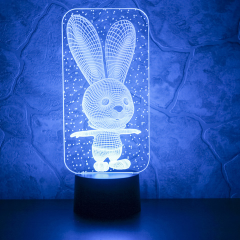 3D светильник Заяц и снежинки