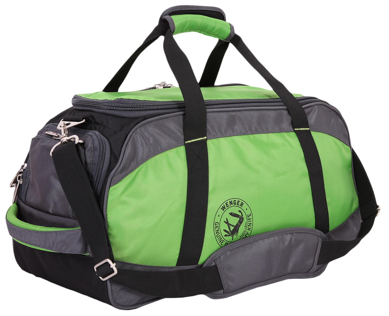 Сумка спортивная дорожная WENGER, цвет зелёный/чёрный, 35 л., 53х26х24 см. (5274606211)