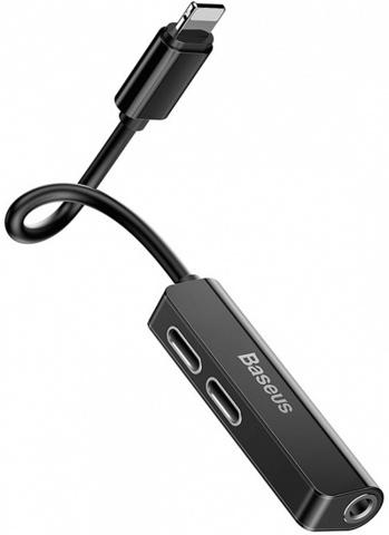 Аудио-переходник Baseus L52 IP Male to Dual Lightning and 3.5 mm Female Adapter (3,5мм & 2 порта Lightning) CALL52-01 Черный