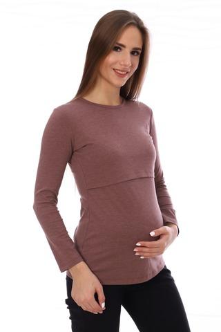 Мамаландия. Лонгслив для беременных и кормящих, коричневый меланж вид 1