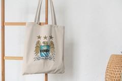 Сумка-шоппер с принтом FC Manchester City (ФК Манчестер Сити) бежевая 002