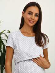 Мамаландия. Сорочка для беременных и кормящих с горизонтальным секретом, серый меланж/белый горох