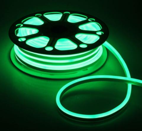 Гибкий неон 8х16 мм, светодиодный | Зеленый - 50м