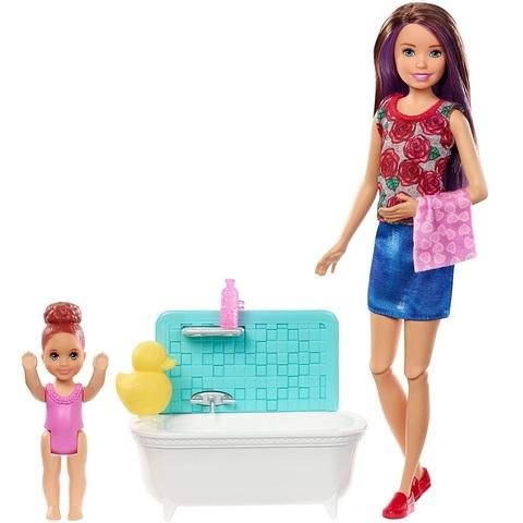 Барби Скиппер Няня с Малышкой и ванной комнатой