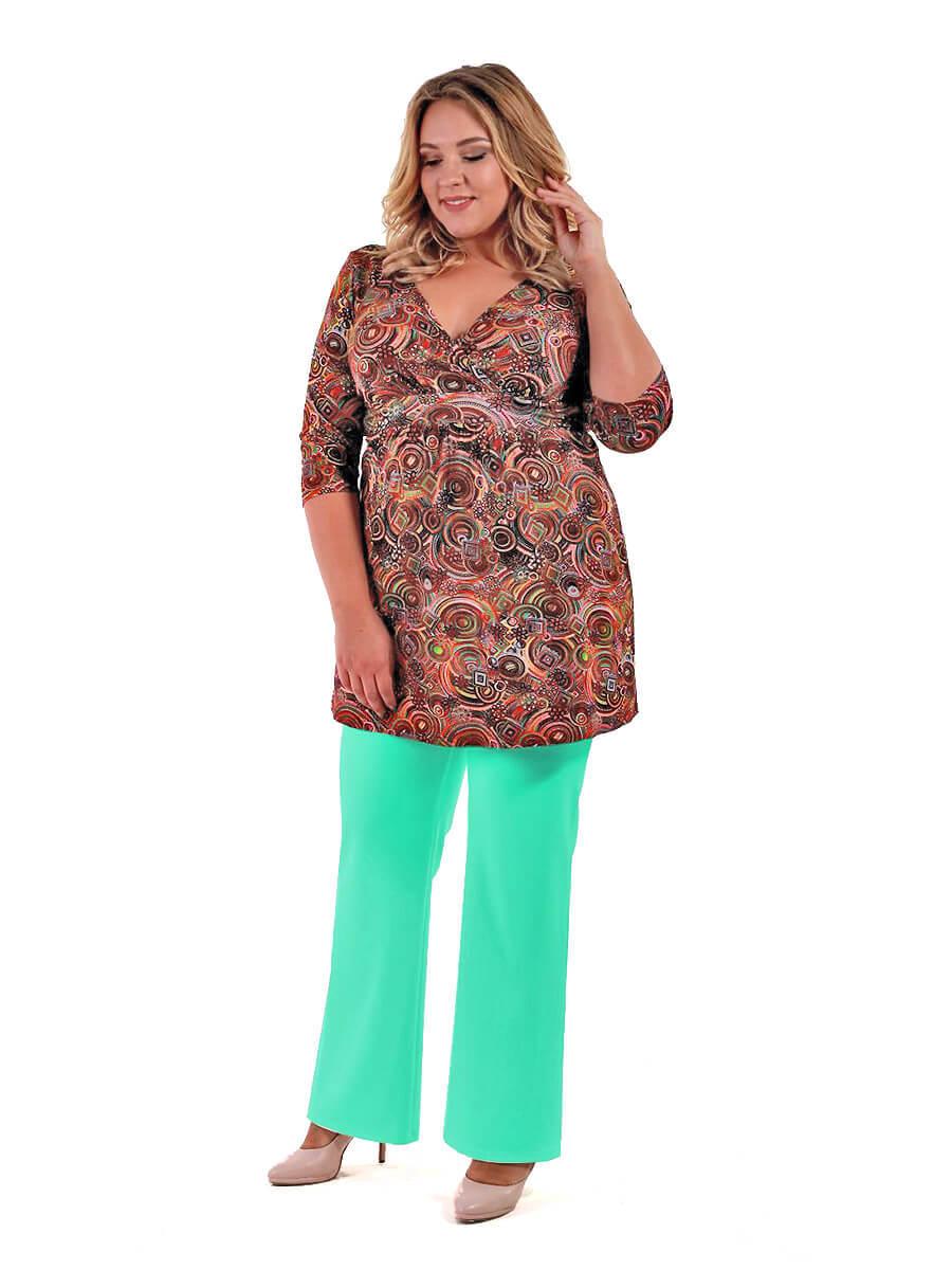 Мятные брюки большого размера