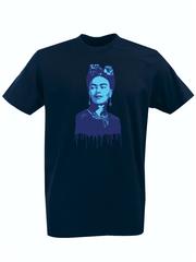 Футболка с принтом Фрида Кало (Frida Kahlo) темно-синяя 0011