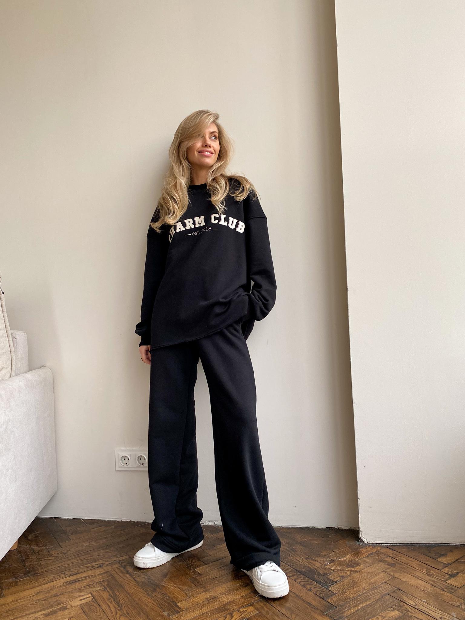 Костюм: Свитшот с принтом+брюки на завязках (черный)