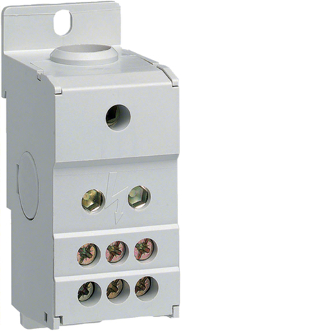 Распределительный блок для оголённых кабелей, ширина 35мм, вх. 1х70 мм², 160A,1Р,на DIN рейку или монт панель