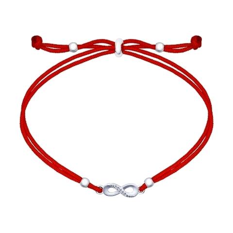94050422- Красная нить с подвеской из серебра