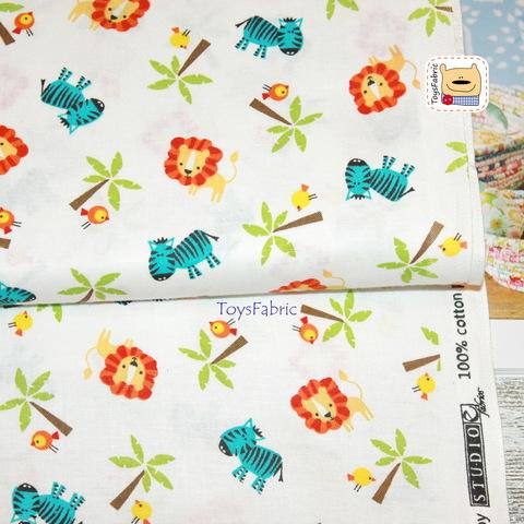Ткань для пэчворка 20952 (львы и зебры) 45х55см