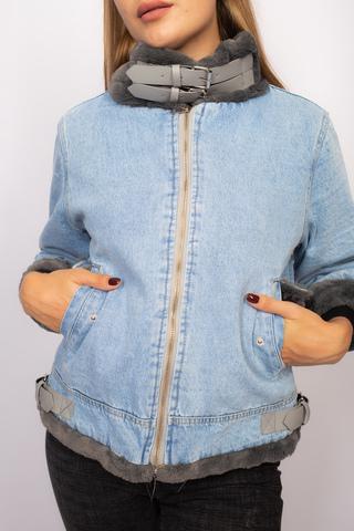 Джинсовая куртка с серым мехом интернет магазин