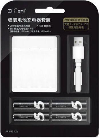 Зарядное устройство для пальчиковых аккумуляторов Xiaomi (Mi) ZMI PB411 в комплекте с аккумуляторами AA (4 шт)