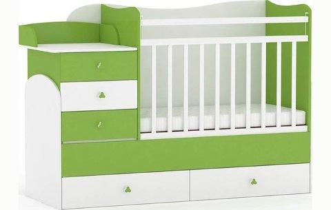 Кровать детская Фея 1400 белый-лайм