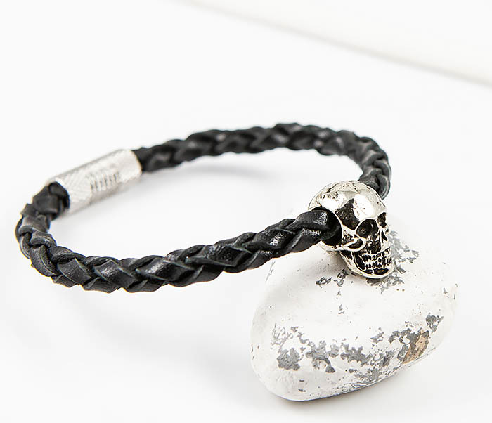 BL785-1 Браслет ручной работы из кожаного шнура с черепом фото 09