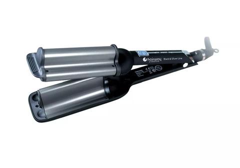 Плойка Hairway Black & Silver Line, 16-20-16 мм, 80 Вт