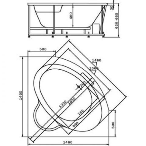 Ванна акриловая Aquatek Калипсо 146х146см на каркасе и сливом-переливом. схема