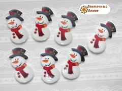 Плоский Декор Снеговичок в шляпе