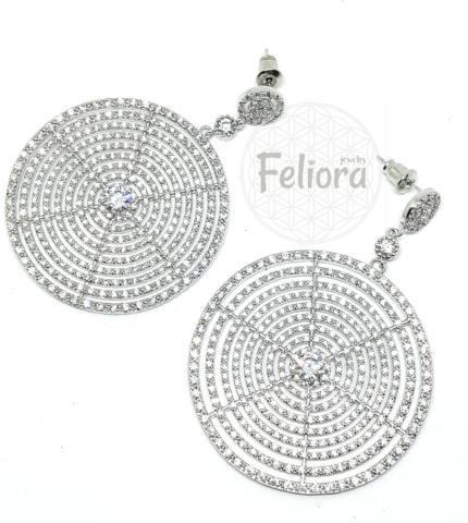 17015 - Серьги из серебра с круглыми подвесками и  микроцирконами