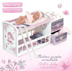 DeCuevas Кроватка для куклы двухъярусная со шкафом серии