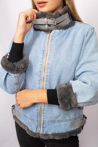 Джинсовая куртка с серым мехом Nadya