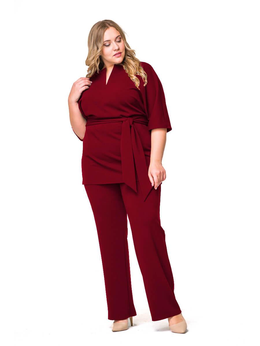 Бордовые брюки большого размера