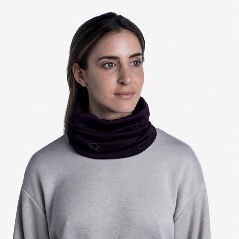 Тонкий шерстяной шарф-труба Buff Wool lightweight Solid Deep Puprle фото 2