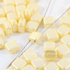Бусина Tile mini Квадратная плоская с 2 отверстиями, 5 мм, кремовая перламутровая