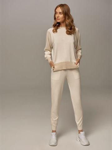 Женские брюки белого цвета из шелка и кашемира - фото 2