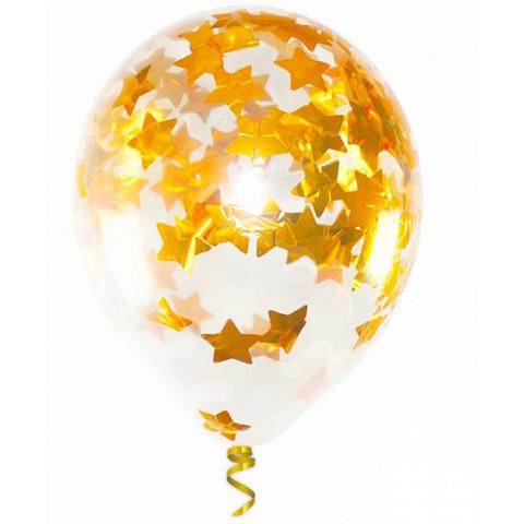 Шары с конфетти золото звезды