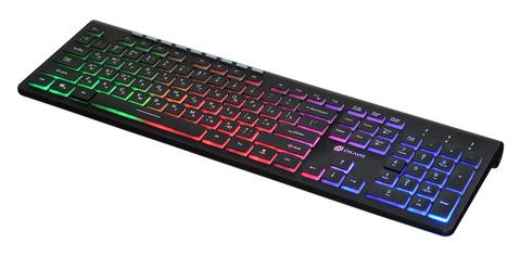 Клавиатура Оклик 490ML черный USB slim Multimedia LED